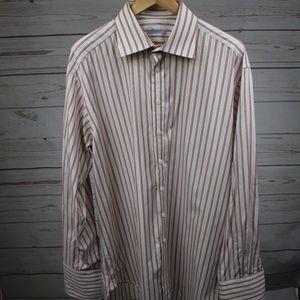 Burberry Striped Button Down Dress Shirt